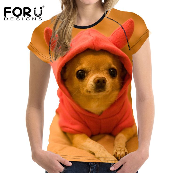 FORUDESIGNS Super Cute Chihuahua T-shirts Women Summer Tops Tees Yorkshire T shirt Women Fashion bulldog Tshirts Vetement Femme #Affiliate