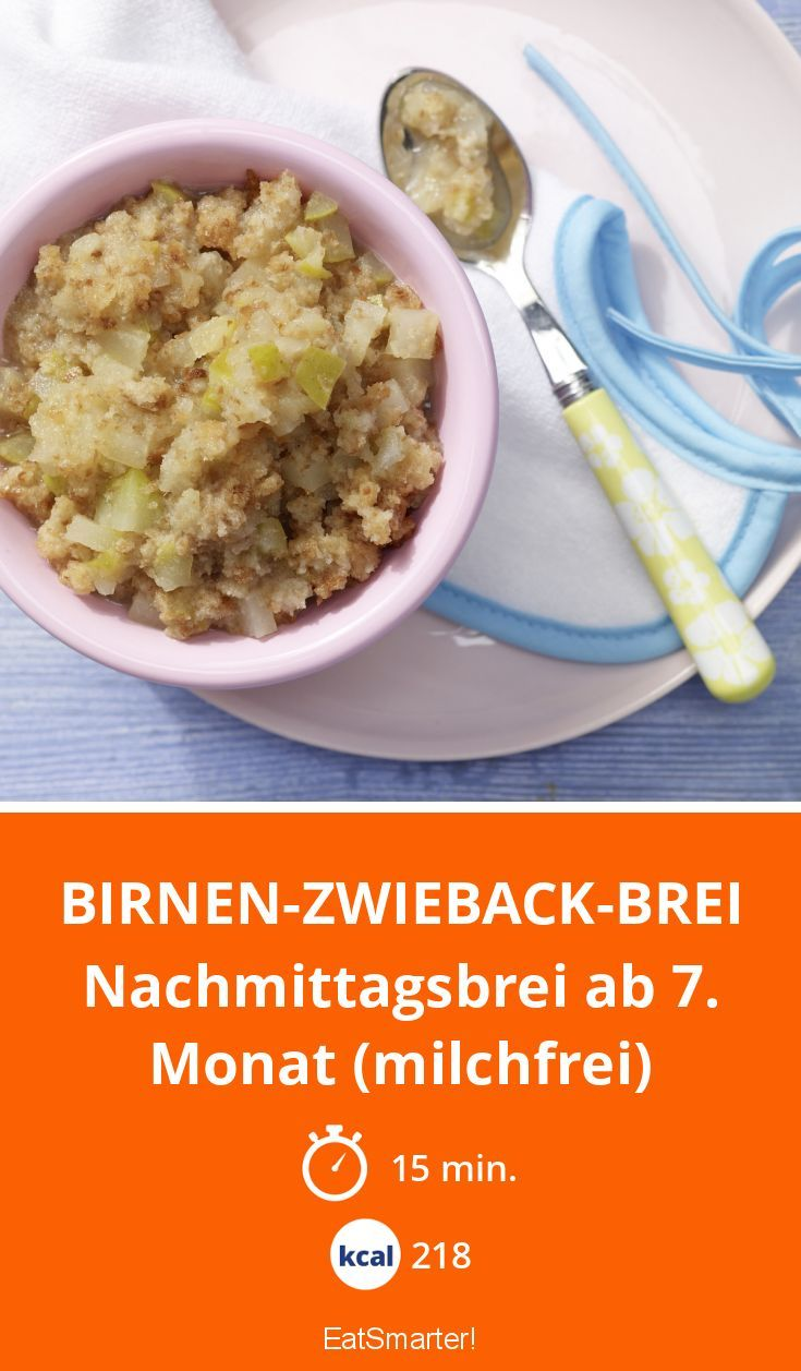 Birnen-Zwieback-Brei - Nachmittagsbrei ab 7. Monat (milchfrei) - smarter - Kalorien: 218 Kcal - Zeit: 15 Min. | eatsmarter.de