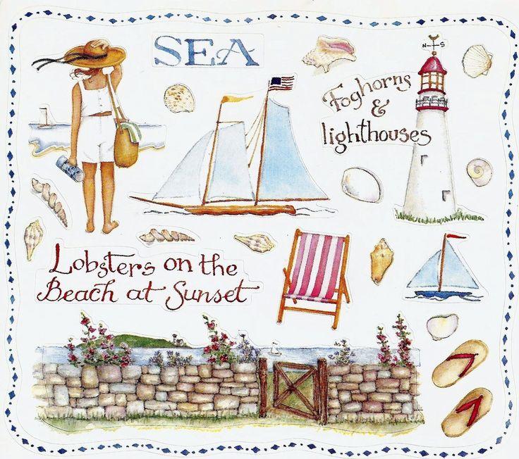 ©Susan Branch  Sea. Beach. Lighthouse. Lobsters. Sunset. sailboat. Flip flops. boat