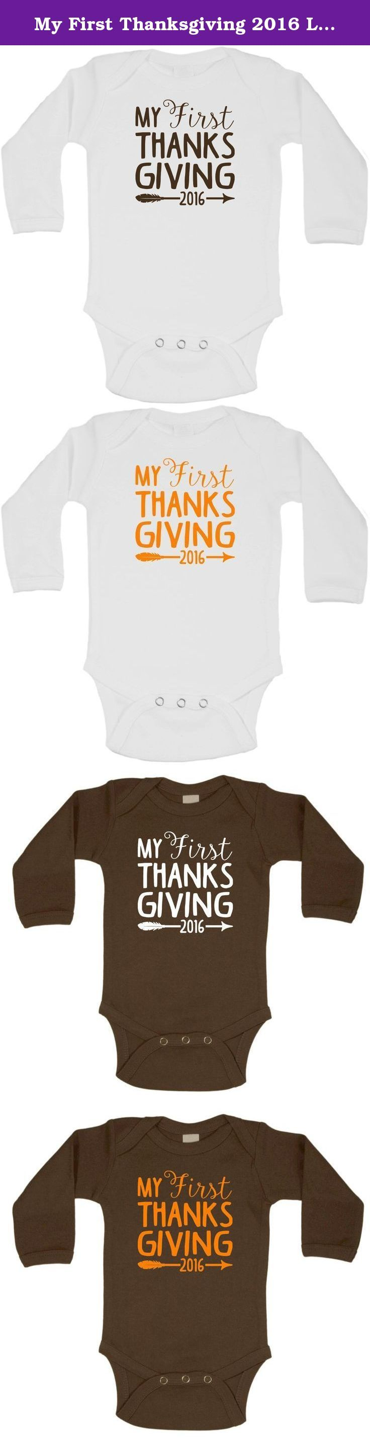My First Thanksgiving 2016 Long Sleeve Onesie Creeper Bodysuit NB-18M. Rabbit Skins Onesies adorned with custom made vinyl decals. Professionally applied for years of enjoyment!.