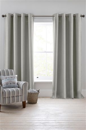 Buy Light Charcoal Linen Look Eyelet Curtains from the Next UK online shop