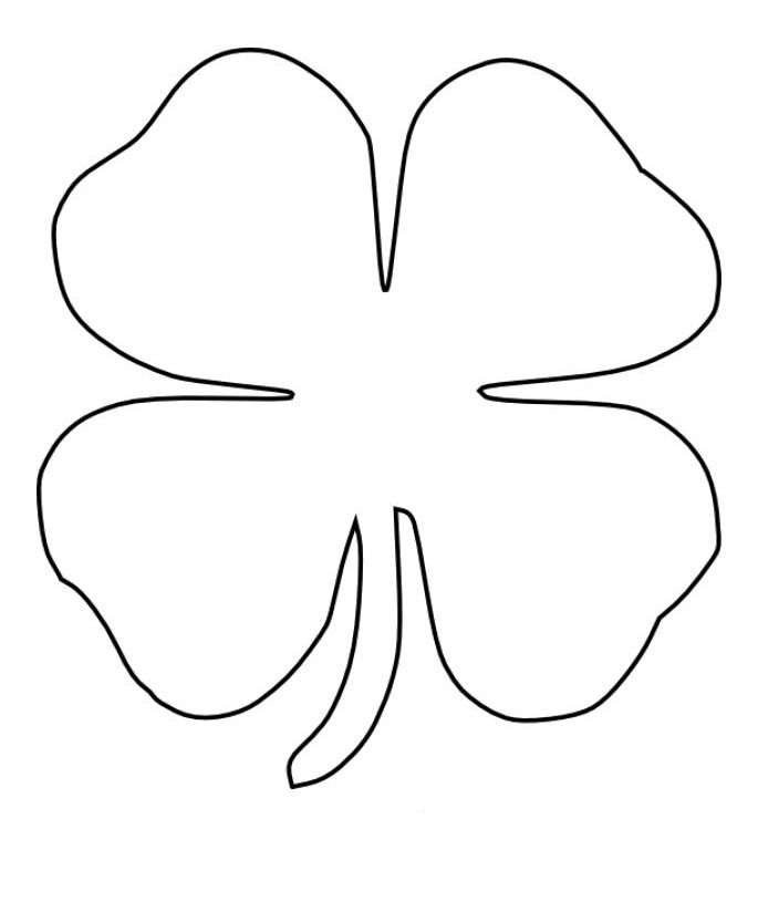 4 leaf clover page coloring pages for Four leaf clover coloring page