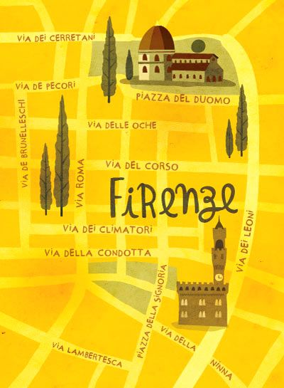 Mauricio Pierro - Map of Florence. Lived in via Lambertesca for a couple of years, loved it!