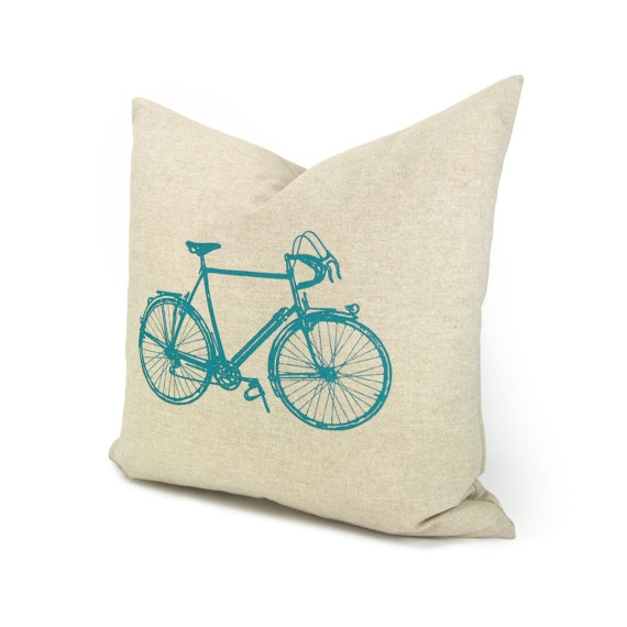 Bicycle pillow cover, Decorative throw pillow, Gift for cyclist - 16x16 Natural beige pillow case with turquoise vintage bike print. $34.00, via Etsy.