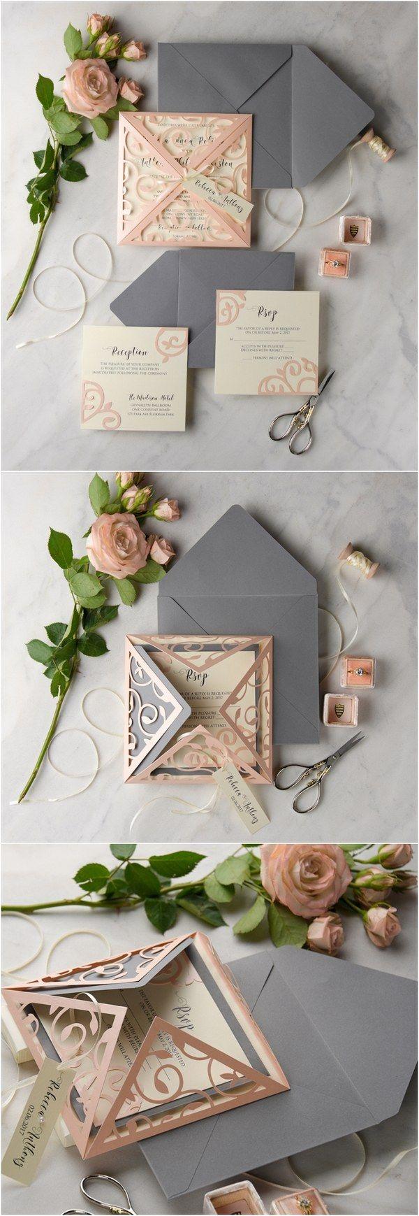 peach and grey laser cut wedding invitations 02LcutPz / http://www.deerpearlflowers.com/laser-cut-wedding-invitations/2/