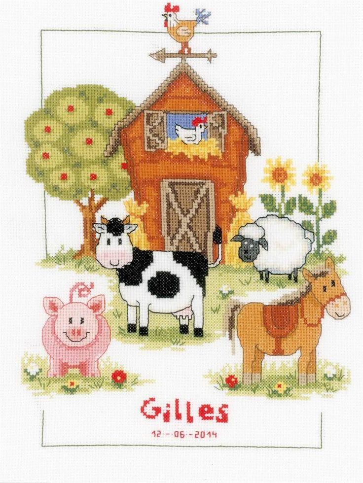 There are fun times to be had at the farm, and all the animals would love to welcome a new child into the world with this birth sampler cross stitch k...