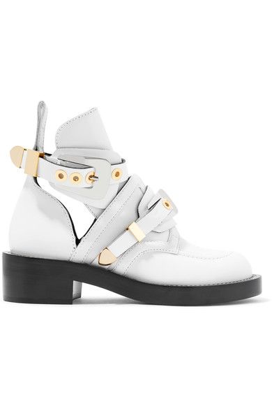 Heel measures approximately 45mm/ 2 inches White leather  Buckle-fastening ankle strap Made in Italy