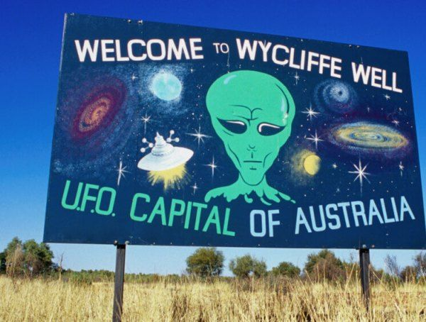 Wycliffe Well is located on the Stuart Highway 130 kilometres south of Tennant Creek and 380 kilometres north of Alice Springs in the Northern Territory Australia. It is known as Australia's UFO capital due to