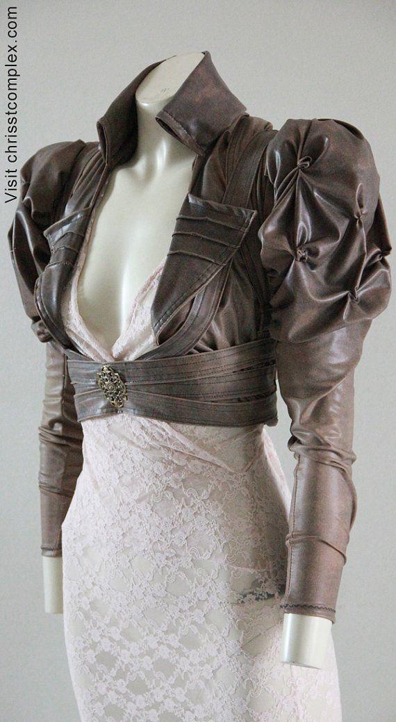 Steampunk Gothic  Bolero Underbust Leather Wedding Bridal Cosplay Victorian Leather ette  - Andru Chrisst