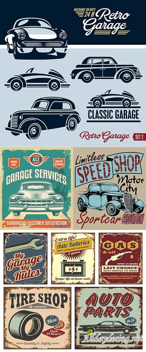 Винтажные плакаты, ремонт автомобиля, машина на постере, векторный клипарт