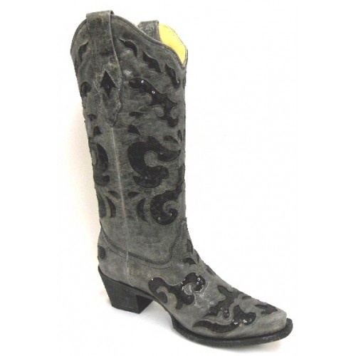 Corral Cowboy Boots Charcoal Grey Black Sequins Inlay Snip Toe Ladies Cowboy Boots  Corral Cowboy Boots Charcoal Grey Black Sequins Inlay Snip Toe Ladies Cowboy Boots    Catch everyone's eye with these sparkly sequins boots! The details are just enough to be flashy and fun, but the boots are still comfortable enough to pair with a dress for dancing!    Charcoal Grey  Black Sequins Inlay  Snip Toe  Ladies Cowboy Boot  Call For Size Availability(Recommended)  1-800-562-4287  ...