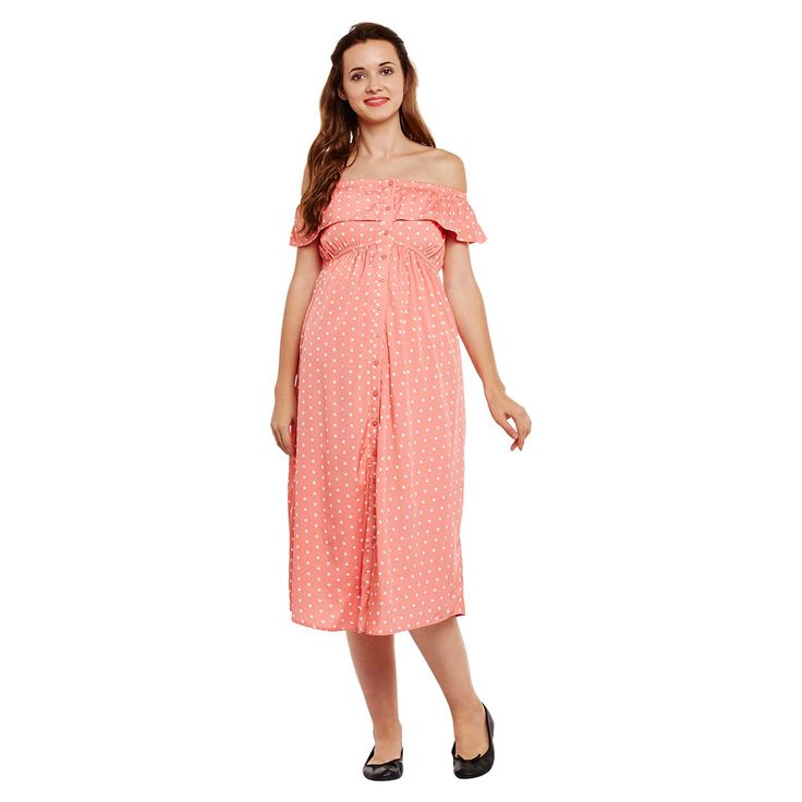 Enjoying pregnancy period? Then this maternity dress is just perfect to pick, it is long, airy and crafted in skin-delighting fabric. For more info, visit at: https://www.oxolloxo.com/new-arrivals-clothes/autumn-winter-collection/polka-dots-maternity-dress-6478