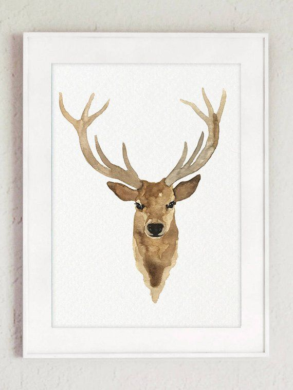 Deer Art Print Deer Illustration Set Of 2 Prints Deer Wall Etsy Deer Art Print Deer Illustration Deer Art
