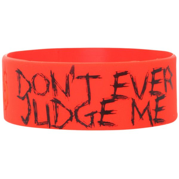 Slipknot Don't Judge Me Rubber Bracelet   Hot Topic ($7) ❤ liked on Polyvore featuring jewelry, bracelets, accessories, rubber bracelets, bands, rubber bangles, red bangles, red jewelry and rubber jewelry