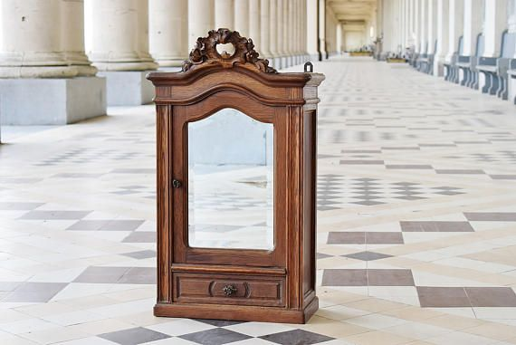 Antique Wall Cabinet  1920s Vintage Mirror Cabinet in Solid