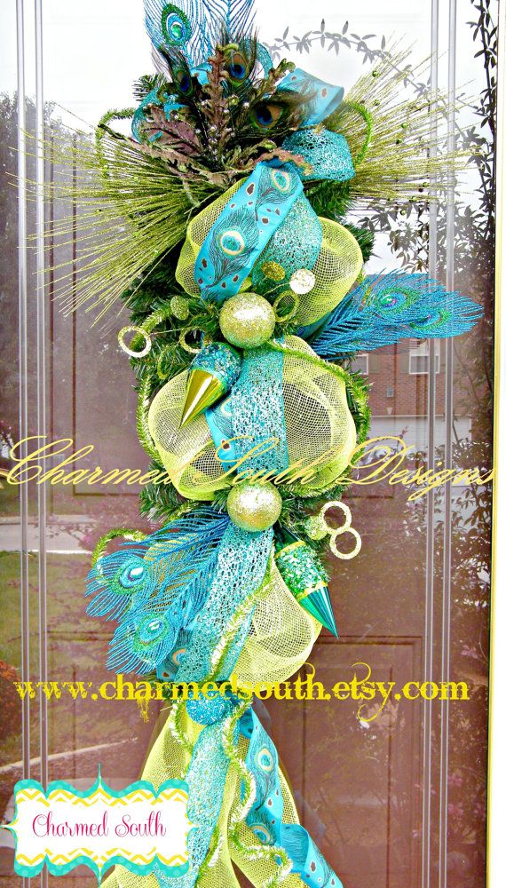 Peacock Christmas Swag, deco mesh swag, charmed south wreath, front door decor