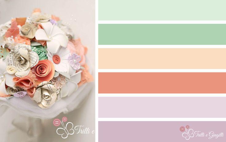 Palette colori matrimonio pesca, arancione, lillà e verde. Wedding color palette peach, orange, lilla and green. Vuoi vederne altre? Vai su www.trilliegingilli.com