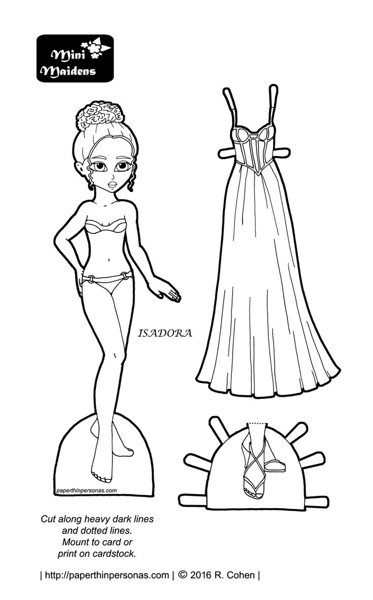Isadora Goes To Prom Paper Doll Coloring Pages