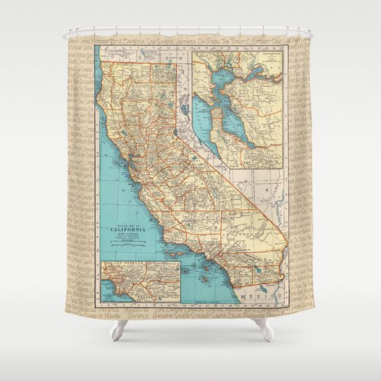 California Surf Map Shower Curtain  Local Motion by Mapology