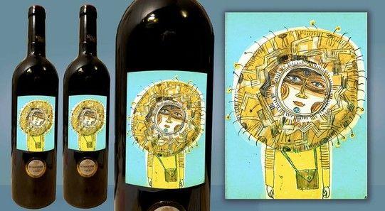 Mallorca Wein mit einem sonnigen Künstleretiket von Theo Kerp im www.mallorcashop....