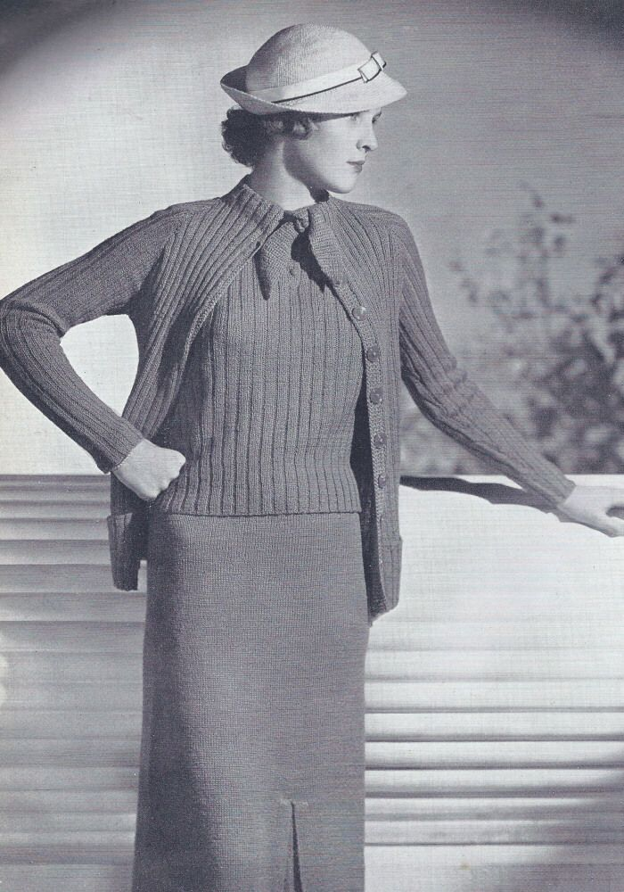 1930s Knitting Patterns : Vintage Knitting PATTERN to make - 1930s Three-Piece Knitted Suit Swe?