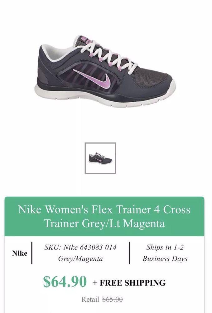 7c3f2fb38465 NIKE Flex Trainer 4 Womens Size 7 Cross Training Shoes 643083 014 Gray Pink   fashion