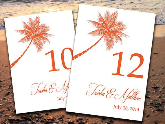 Beach Wedding Table Number Template | Lazy Palm Tropical Orange Microsoft Word Template | 5x7 Wedding Table Number | Destination Wedding by PaintTheDayDesigns, $10.00