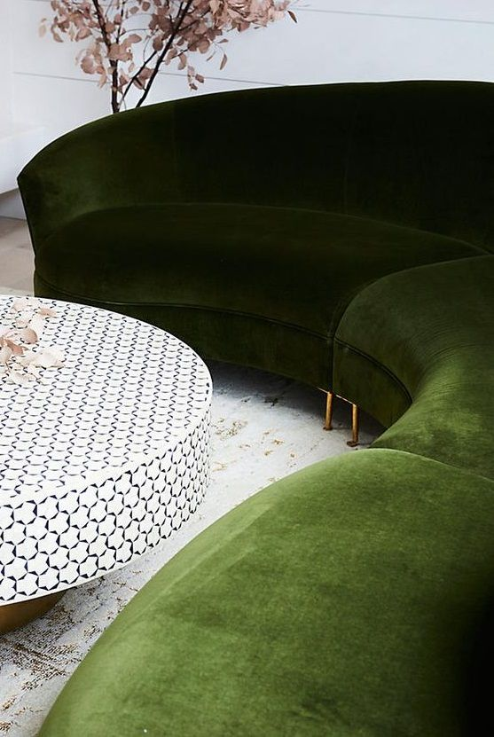 moss green sofa. home decor. living room.