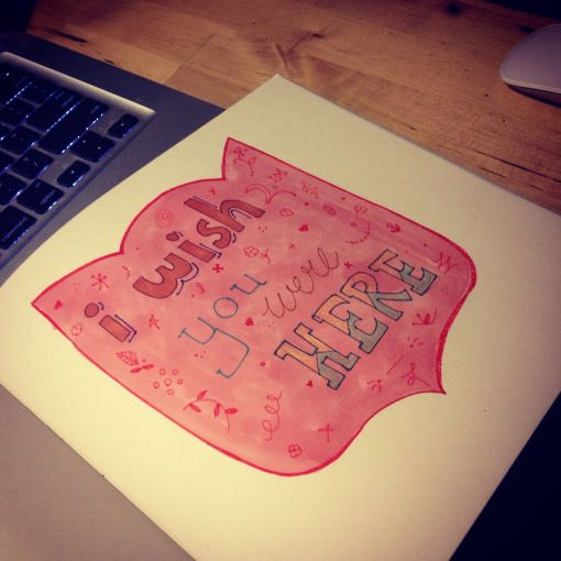 """Sketch for a new """"miss you card"""" #wish you were here #lettering  #bonitofracaso"""