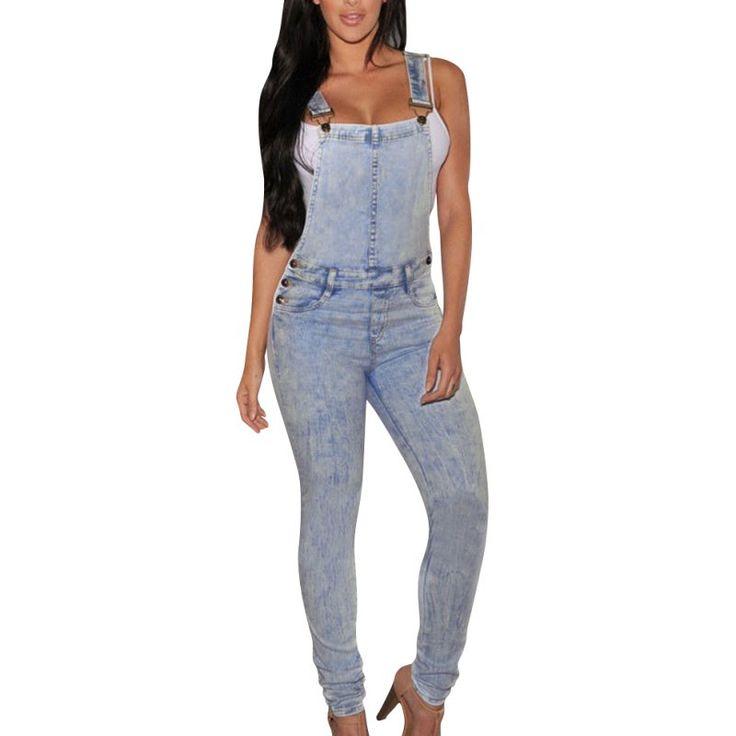 Jumpsuits Denim Overalls For Women Elegant Jeans Skinny Lady Hole Pants S/M/L/XL