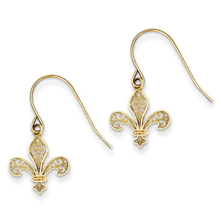 14k Fleur de lis Shepherd Hook Earrings TM792