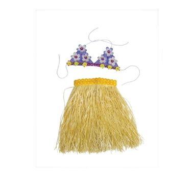 Komplet hawajski słomkowa spódnica + biustonosz. W takim stroju zrobisz furorę na swojej imprezie :)