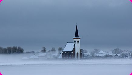 Little church on the island Texel, the Netherlands. Beuatiful in the snow.