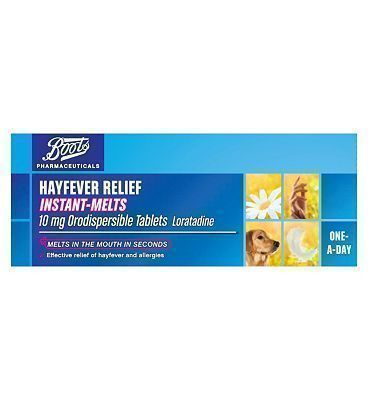 Boots Pharmaceuticals Boots Hayfever Relief Instant-Melts 10mg 16 Advantage card points. Effective relief of hayfever and allergies. Suitable for: Adults and children 2 years and over. Active ingredient: Loratadine 10mg. See details below, always read the label F http://www.MightGet.com/april-2017-1/boots-pharmaceuticals-boots-hayfever-relief-instant-melts-10mg.asp #instantasthmarelief