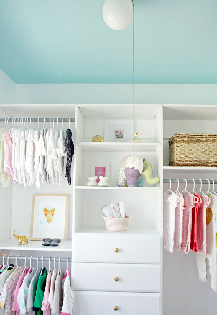 White Closet With A Sky Blue Ceiling