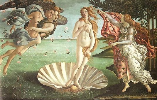 산드로 보티첼리(Sandro Botticelli)의 비너스의 탄생(The Birth of Venus) / 1485년경 / 우피치미술관 소장  보티첼리의 세계적인 명작 비너스의 탄생은, 시인 호메로스의 시에 나오는 비너스가 키테라 섬에 도착하는 장면을 묘사한 것이다. 육체적인 사랑을 불러일으키는 지상의 여신임과 동시에, 정신적이고 형이상학적인 사랑을 고취시키는 천상의 여신인 비너스를 다루고 있다는 점에서 이 작품은 '사랑'과 밀접한 관련이 있는 명화라고 할 수 있다. 부드럽고 섬세한 곡선의 묘사와 비너스의 우아한 자태 등은 그녀가 전달하는 사랑의 숭고함을 잘 표현해주고 있다. 화면의 왼쪽에는 바람의 신 제피로스가 봄의 님프인 클로리스에게 안긴 채 바람을 불어 비너스를 해변으로 밀어보내고 있고, 우측에는 봄의 여신이 비너스를 맞으며 옷을 펼치고 있다.