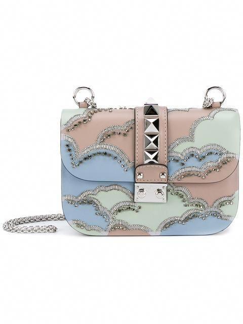 fa6c411e6a5 Shop Valentino Valentino Garavani 'Glam Lock' embroidered shoulder ...