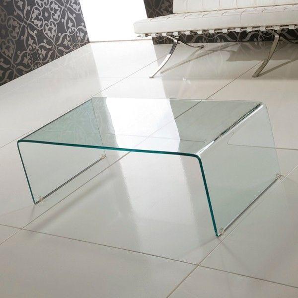 Tavolino Emerald in vetro curvato trasparente a ponte Il ...