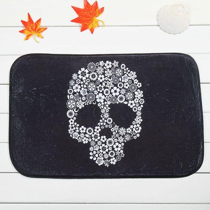New Design Black Skull Home Door Front Non Slip Mat Carpet 40x60cm Entrance Doormats Living Room Bedroom Floor Mats Kitchen Rugs