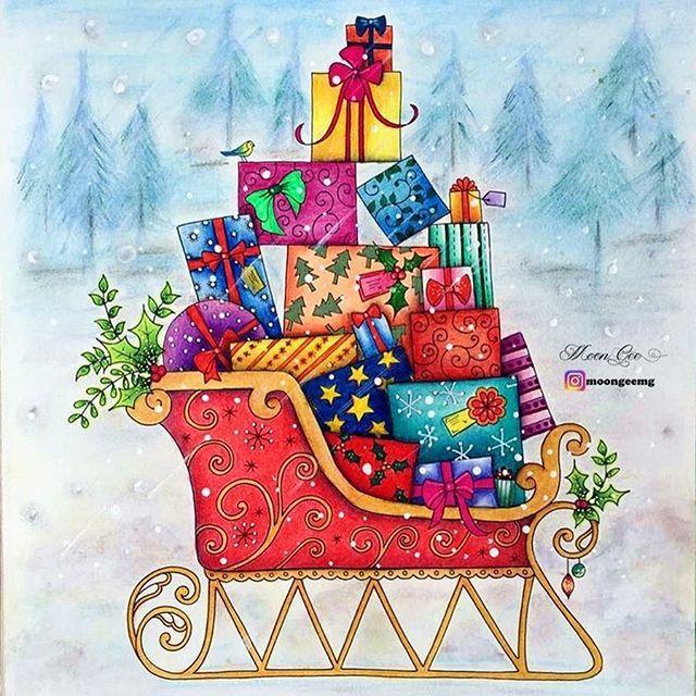 Johanna's Christmas Coloring Book- Santa Claus's sleigh with presents
