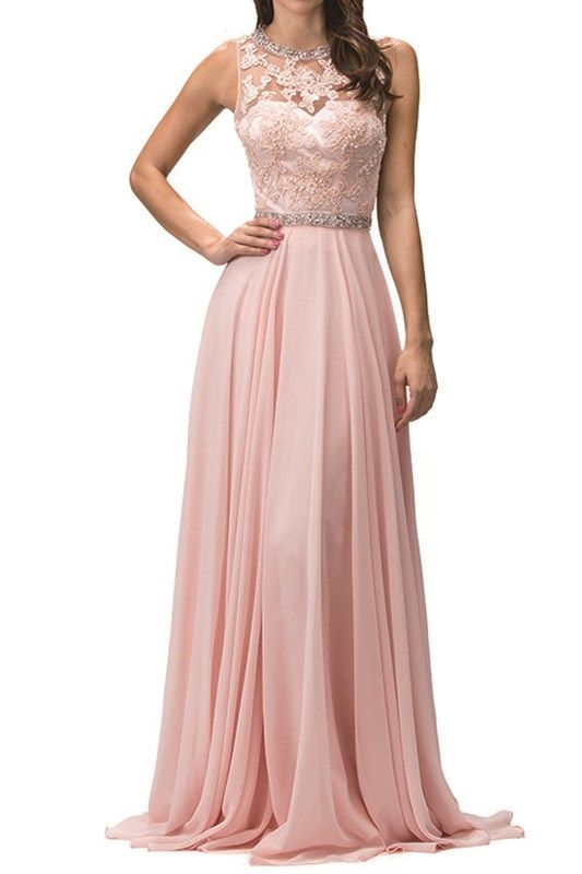 AMELIA BRIDESMAIDS A-LINE W/JEWELED SASH & NECK