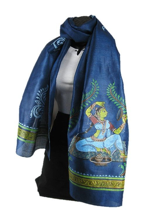 **** Make Up ****    Play dress up with this scarf. The traditional hand painted scene depicts a lady getting her art of make up right. Based on a royal blue hand woven Tussar silk fabric, it shows off the diva in you!    Women's Traditional Hand Painted Scarf by ArachneStyle on Etsy, $85.00
