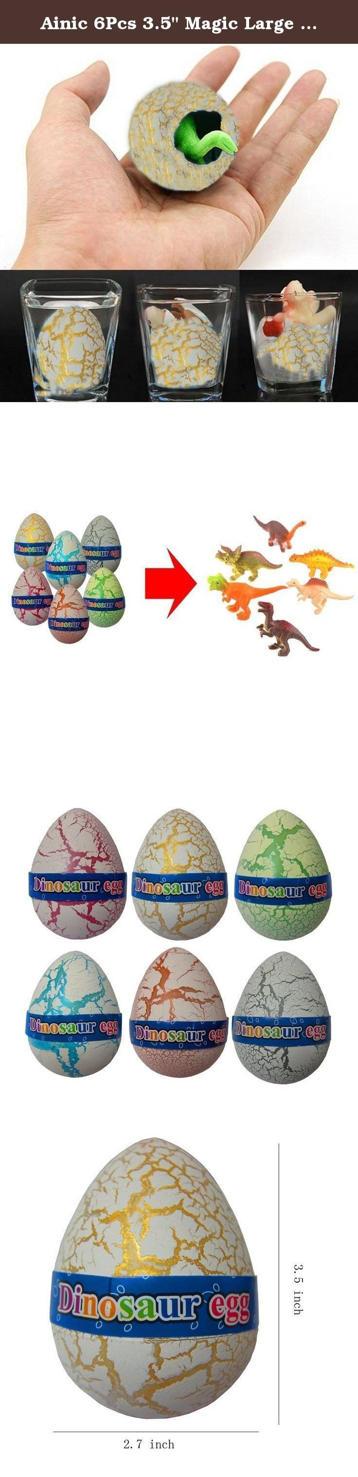 """Ainic 6Pcs 3.5"""" Magic Large Size Emulational Dinosaur Eggs Hatching Growing Egg Toy, Meaningful Gifts for Kids Birthday. Novelty Magic Large Size Dinosaur Eggs Hatching Growing Egg Kids Toy It will help kids know more about them or nature. It will let kids learn more knowledge and enhance operation ability. It will be a big surprise for your kids. It will help children to know the animal hatching, and it need a long time,it will improve their patience,outsight. Very funny and very..."""