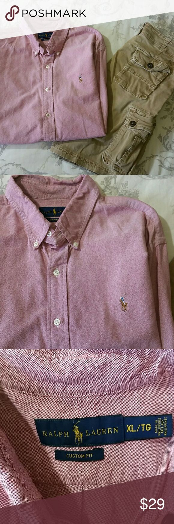 Ralph Lauren custom fit button up shirt xl Ralph Lauren custom fit button up shirt xl. This is a red and white blended shirt, the fabric is thick and perfect for the season. Ralph Lauren Shirts Casual Button Down Shirts