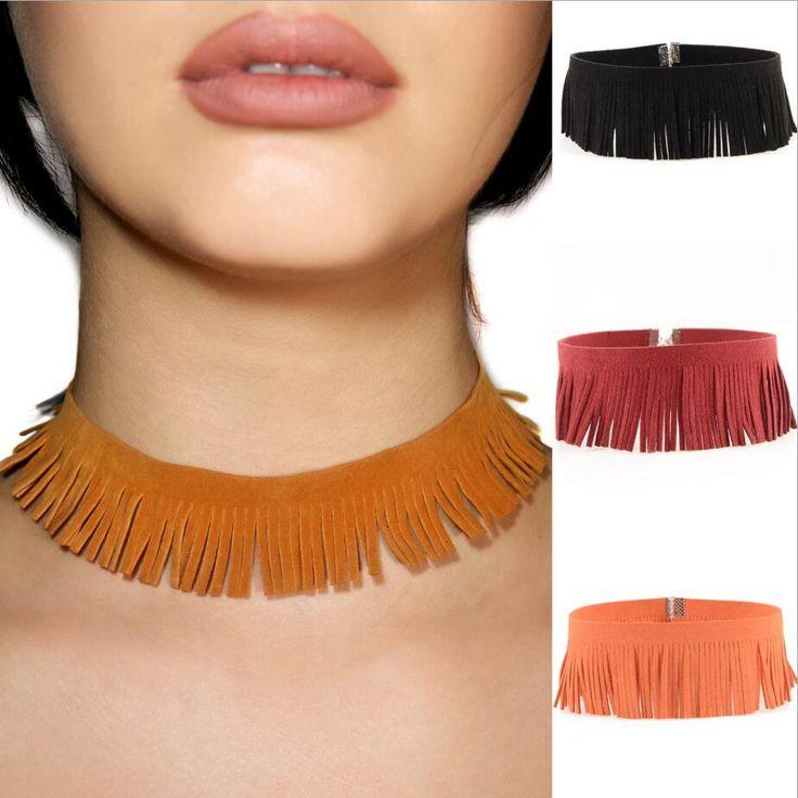 statement necklace Black Goth Choker Necklaces Women Fashion Tassel Velvet Choker Necklaces&pendants 2017 Necklace boho Jewelry