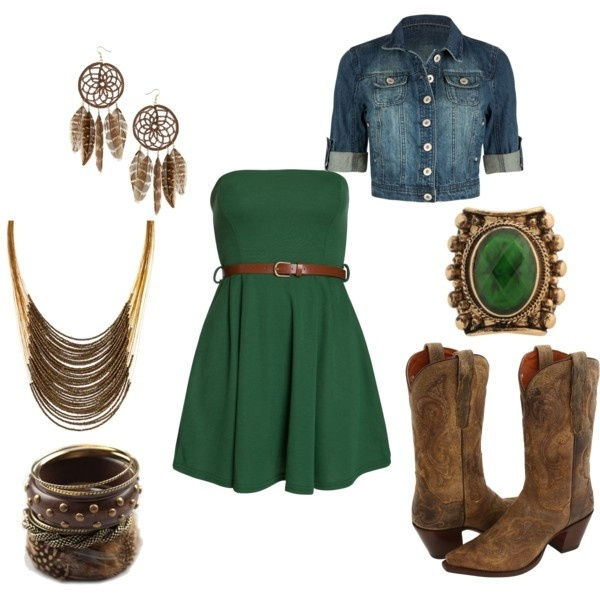 Jean jacket, green, and cowgirl boots!!