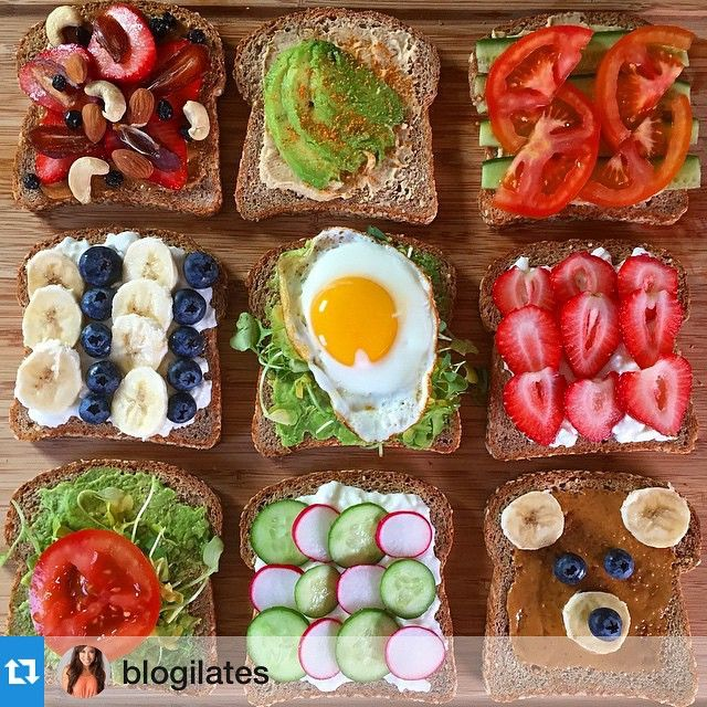 Some healthy snack ideas for you! All of these are made on Ezekiel toast. My personal fave is the cottage cheese with radish and cucumber. So fresh, crunchy, and creamy!