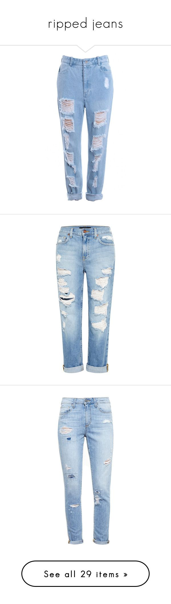 """ripped jeans"" by amy-lopezx ❤ liked on Polyvore featuring jeans, pants, bottoms, romwe, light blue ripped jeans, destruction jeans, torn jeans, blue jeans, destructed jeans and calças"