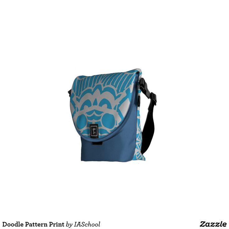 Doodle Pattern / zentangle backpack / school supplies / back to school / messenger bag / courier bag