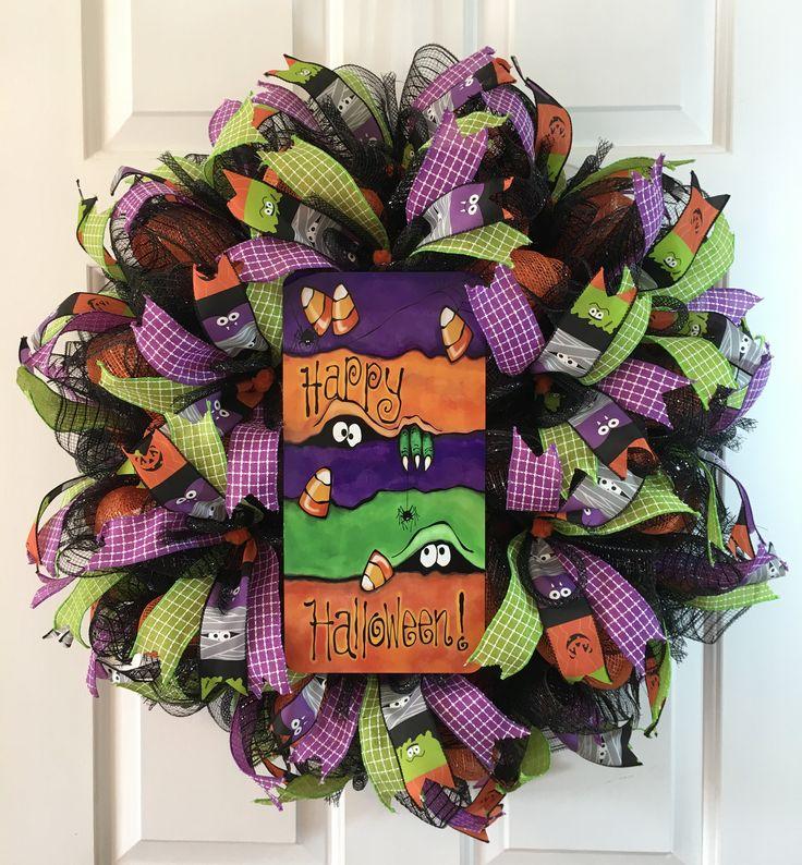 Monster Eyes Halloween Wreath, Halloween Decor, Fall Wreath, Autumn Wreath, Halloween Decorations